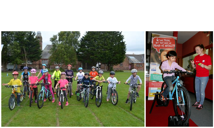 A group of young people enjoy a triathlon holiday camp in Annan (Left). Rebecca watches a school pupil on the bike (Right).
